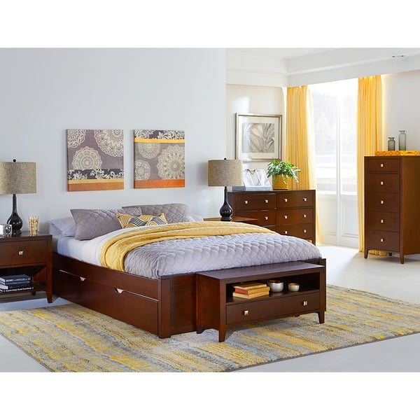 Hillsdale Pulse Queen Platform Bed with Trundle, Cherry