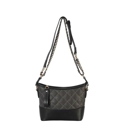 Diophy Quilted Pattern Half Chain Strap Cross Body Handbag