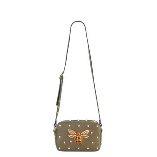 Diophy Front Bee with Pearls Studded Pattern Cross Body Handbag (Option: Green)