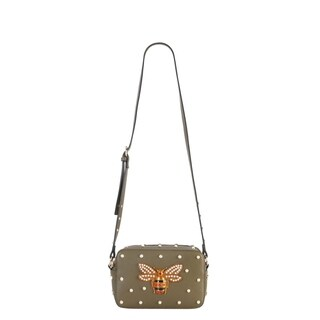 Diophy Front Bee with Pearls Studded Pattern Cross Body Handbag