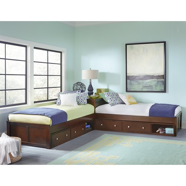 Hillsdale Pulse L-Shape Bed with Double Storage, Cherry