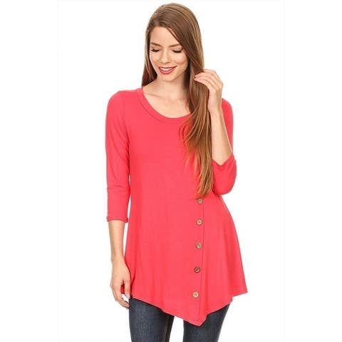 Women's Solid Color Button Trim Tunic (MADE IN USA)