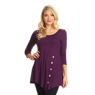Women's Solid Color Button Trim Tunic (MADE IN USA) (4 options available)