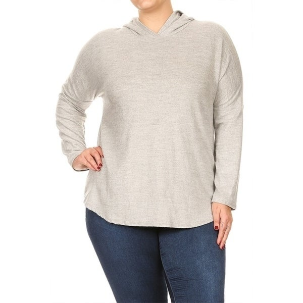 89e0045163f Shop Women s Plus Size Solid Textured Knit Hoodie (MADE IN USA ...