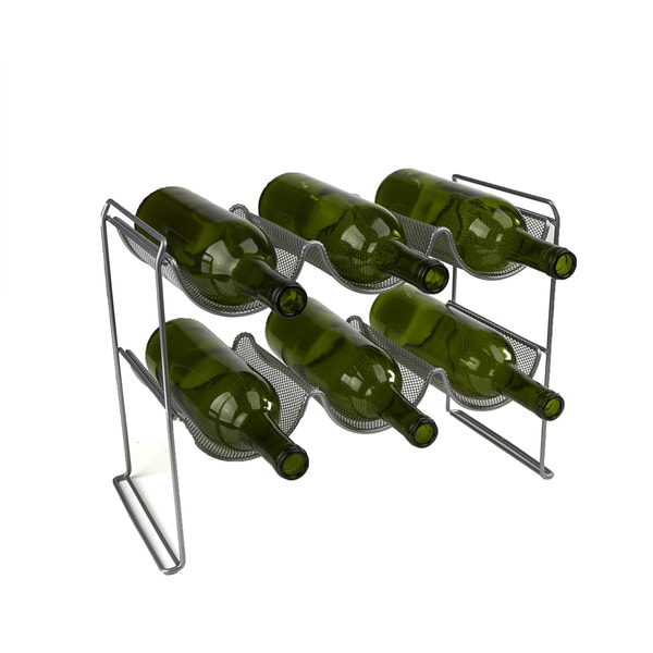 Mind Reader 2 Tier 6 Bottle Stackable Mesh Wine Rack Organizer, Clear