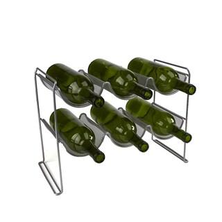 Mind Reader 2 Tier 6 Bottle Stackable Mesh Wine Rack Organizer, Clear