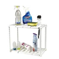 Mind Reader 2 Tier Under the Sink Shelf for Cleaning Supplies, White