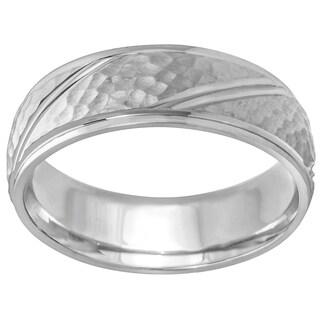 14k White Gold Hammered Diagonal Comfort Fit Men's Wedding Bands