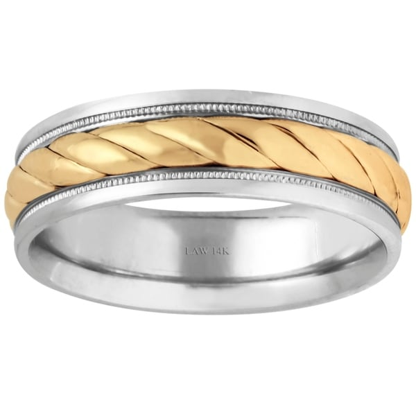 14k TwoTone Gold Rope Design Comfort Fit Mens Wedding Bands