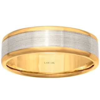 14k Two-Tone Gold Flat Brushed Comfort Fit Men's Wedding Bands - White
