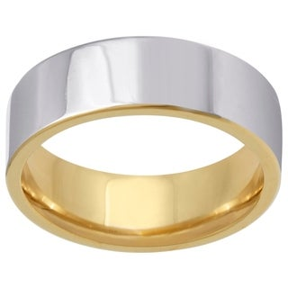 14k Two-Tone Gold Flat Comfort Fit Men's Wedding Bands - White