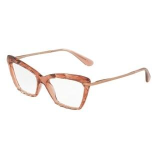 Dolce & Gabbana Women's DG5025 3148 53 Transparente Pink Cateye Plastic Eyeglasses