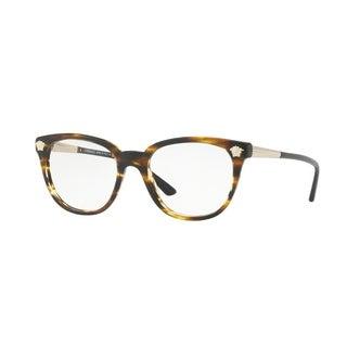 Versace Women's VE3242 5202 54 Striped Havana Plastic Eyeglasses