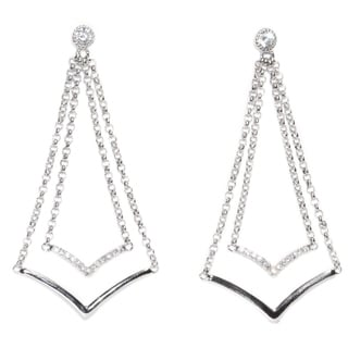 Kabella Round Sterling Silver CZ Double V Dangle Earring - White