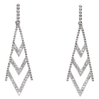 Kabella Sterling Silver CZ Art Deco Beaded Dangle Earring - White