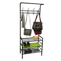 Mind Reader Metal Coat & Shoe Rack Shelving Organizer, Black