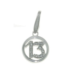 "Isla Simone Fine 925 Sterling Silver Number ""13"" with CZ Charm Jewelry"