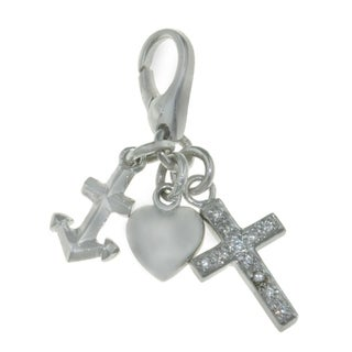 Isla Simone 925 Sterling Silver Hope, Faith, and Charity Charm