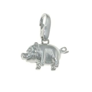 Isla Simone 925 Sterling Silver Happy Farm Pig Lucky Charm