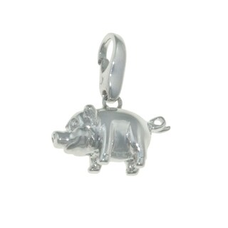 Isla Simone 925 Sterling Silver Happy Farm Pig Lucky Charm