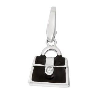 Isla Simone 925 Sterling Silver Black Handbag Purse CZ Charm