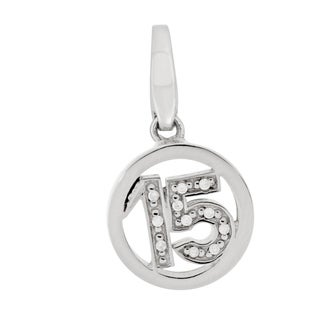 "Isla Simone Fine 925 Sterling Silver Number ""15"" with CZ Charm Jewelry"