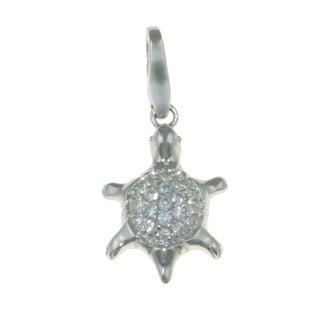 Isla Simone 925 Sterling Silver Turtle with White CZ Charm