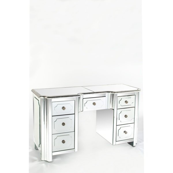 Statements By J Hudson Mirrored Vanity Table Desk 30 Inch Tall