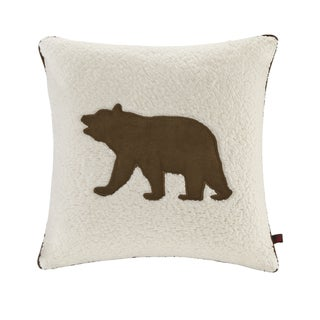 Woolrich Bear White 18 Inch Square Berber Decorative Throw Pillow