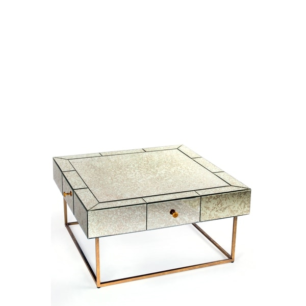 Statements By J Dailyn Mirrored Silvertone/Brass Wood/Iron Coffee Table  With Glass Top