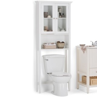 WYNDENHALL Normandy 68.4 inch H x 27.6 inch W Over The Toilet Space Saver Bath Cabinet in White