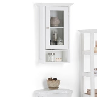 "WYNDENHALL Normandy 28 inch H x 15.75 inch W Single Door Wall Bath Cabinet in White - 15.75""W x 10""D x 28""H"