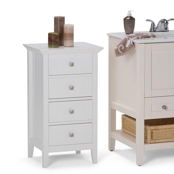 WYNDENHALL Normandy 32.1 inch H x 18 inch W Four Drawer Floor Storage Bath Cabinet in White - 18 W x 16 D x 32 H