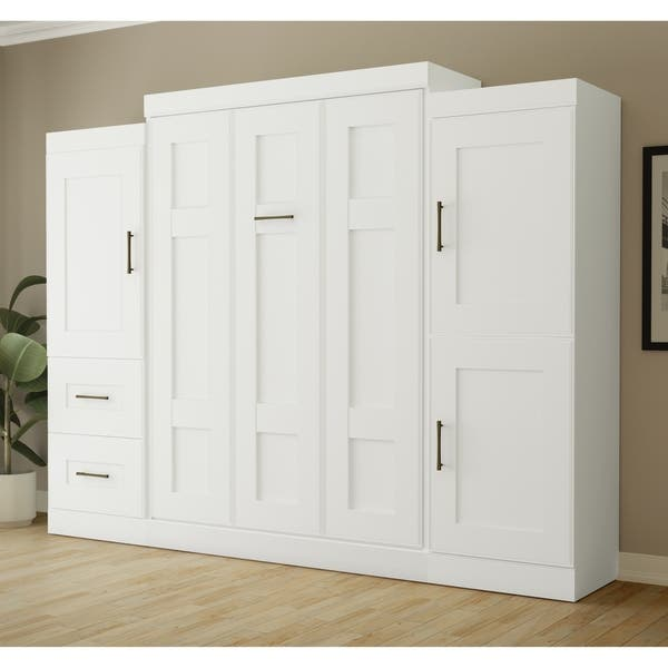 Edge By Bestar Full Wall Bed With Two 25 Storage Units