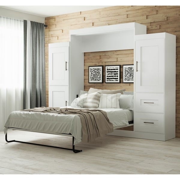 Edge By Bestar Queen Wall Bed With Two 25 Quot Storage Units