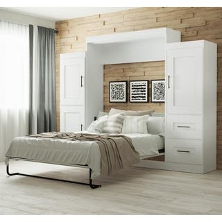 """Edge by Bestar Queen Wall Bed with two 25"""" Storage Units