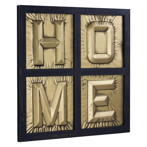 HOME Sign 3D Gold Metal Block Letters Framed Wall Art Decor  sc 1 st  Overstock.com & Shop HOME Sign 3D Gold Metal Block Letters Framed Wall Art Decor ...