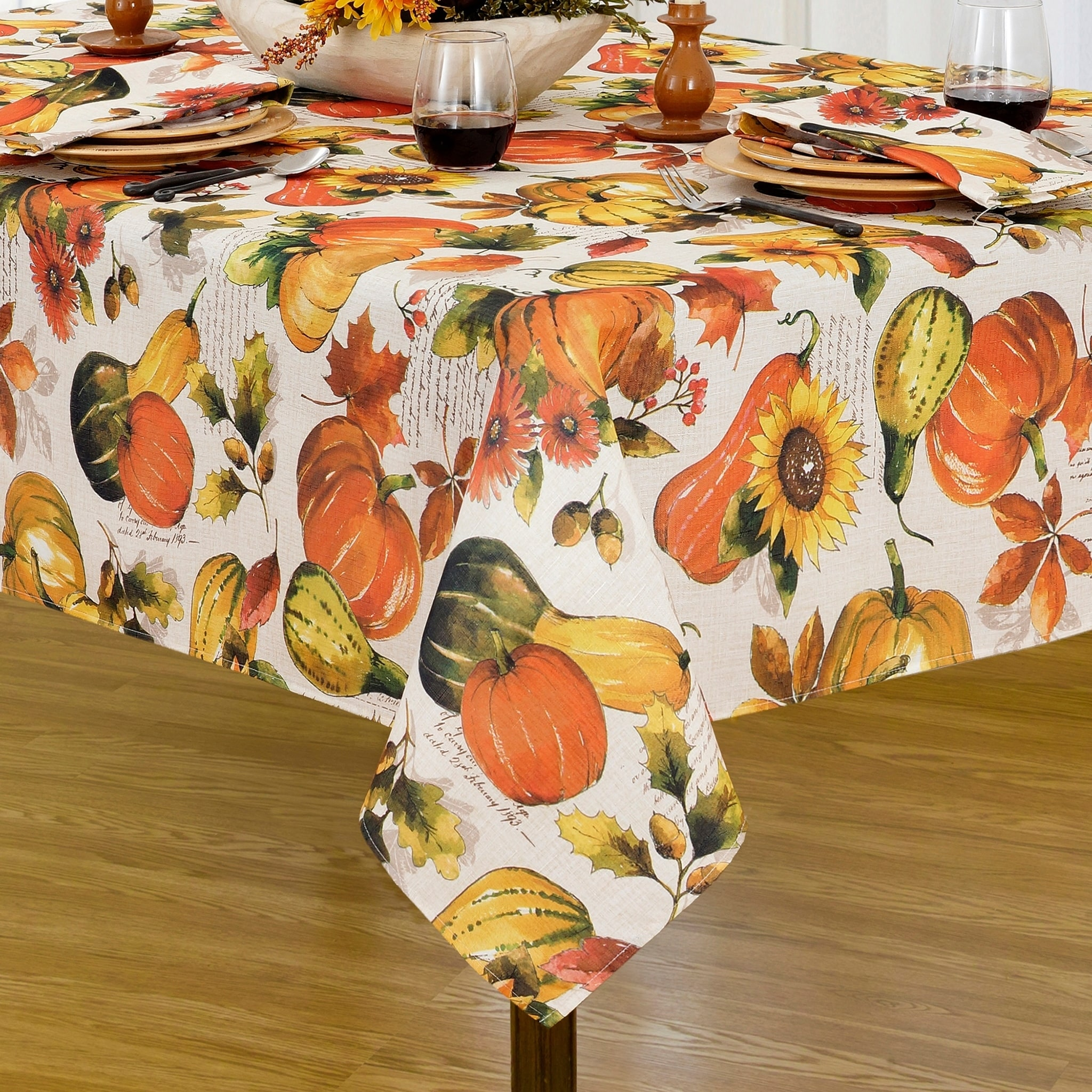 Grateful Season Printed Fabric Harvest Tablecloth Overstock 18008739