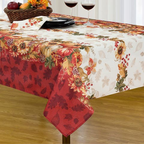 Swaying Leaves Bordered Fall Tablecloth