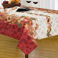 Swaying Leaves Double Border Printed Fabric Harvest Tablecloth