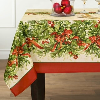 Holly Traditions Printed Fabric Christmas Tablecloth