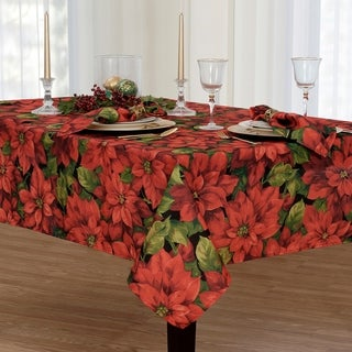 Poinsettia Celebration Printed Fabric Christmas Tablecloth