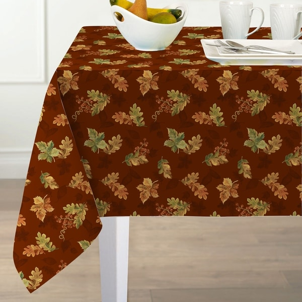 Swaying Leaves Printed Fabric Harvest Tablecloth