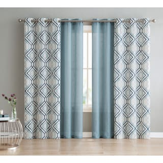 Vcny Home Jackston 4 Pack Curtain Panel Set Option Blue 96 Inches