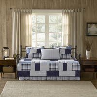 Woolrich Riverview Blue 5 Piece Cotton Percale Reversible Day Bed Cover Set