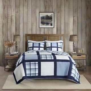 Woolrich Huntington Blue Oversized Cotton Percale Reversible Quilt Mini Set