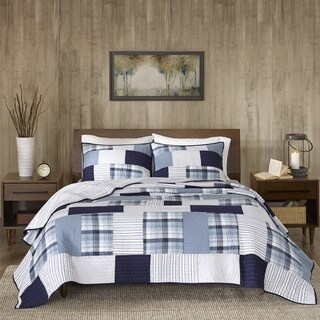 Woolrich Riverview Blue Oversized Cotton Percale Reversible Quilt Mini Set