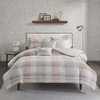 Madison Park Miller Blush Cotton Printed Flannel Duvet Cover Set