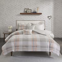 Madison Park Miller Blush Cotton Printed Flannel Comforter Set