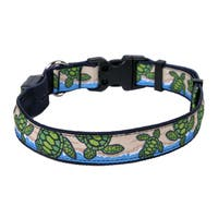 Yellow Dog Orion LED Collar - Turtles on the Beach